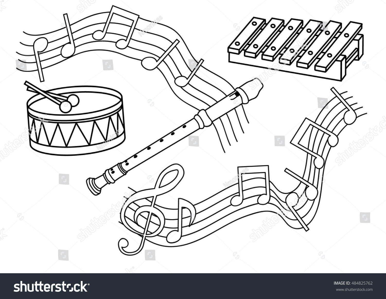 Coloring Page Musical Instruments Stock Vector 484825762