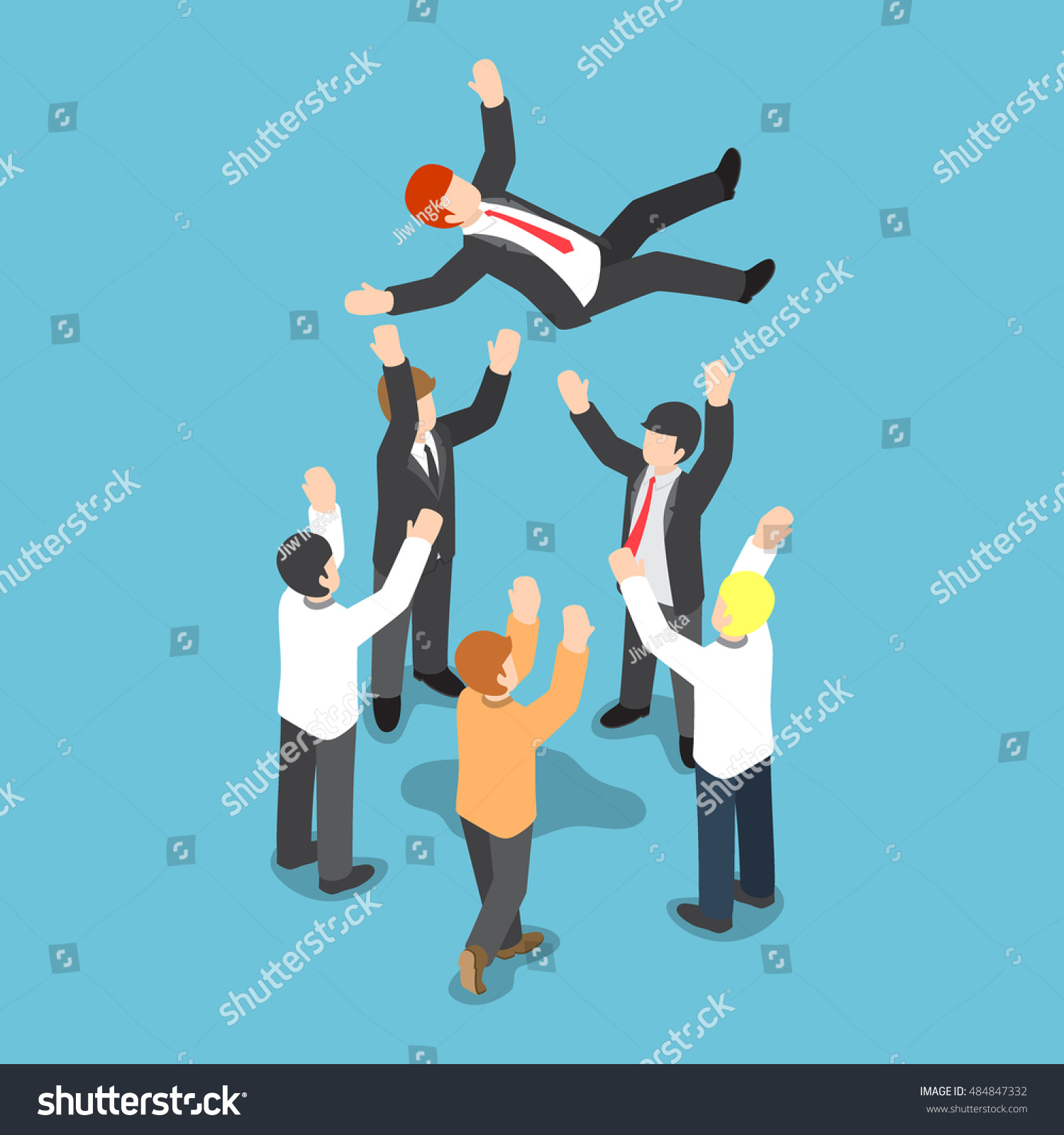 flat d isometric businessman being throw stock vector  flat 3d isometric businessman being throw up in the air by his team business success