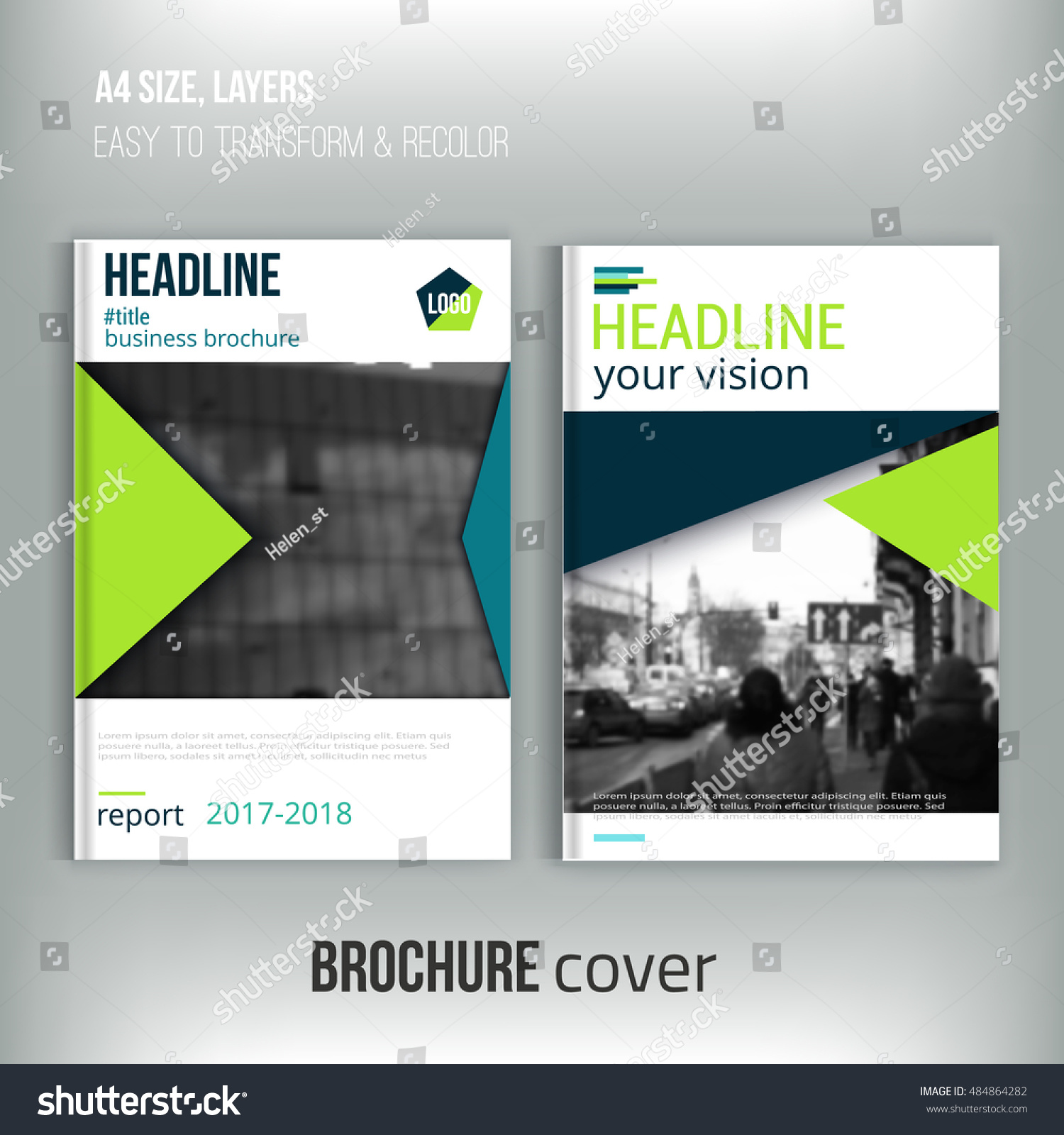 Clean Brochure Cover Template Blured City Stock Vector (Royalty Free ...