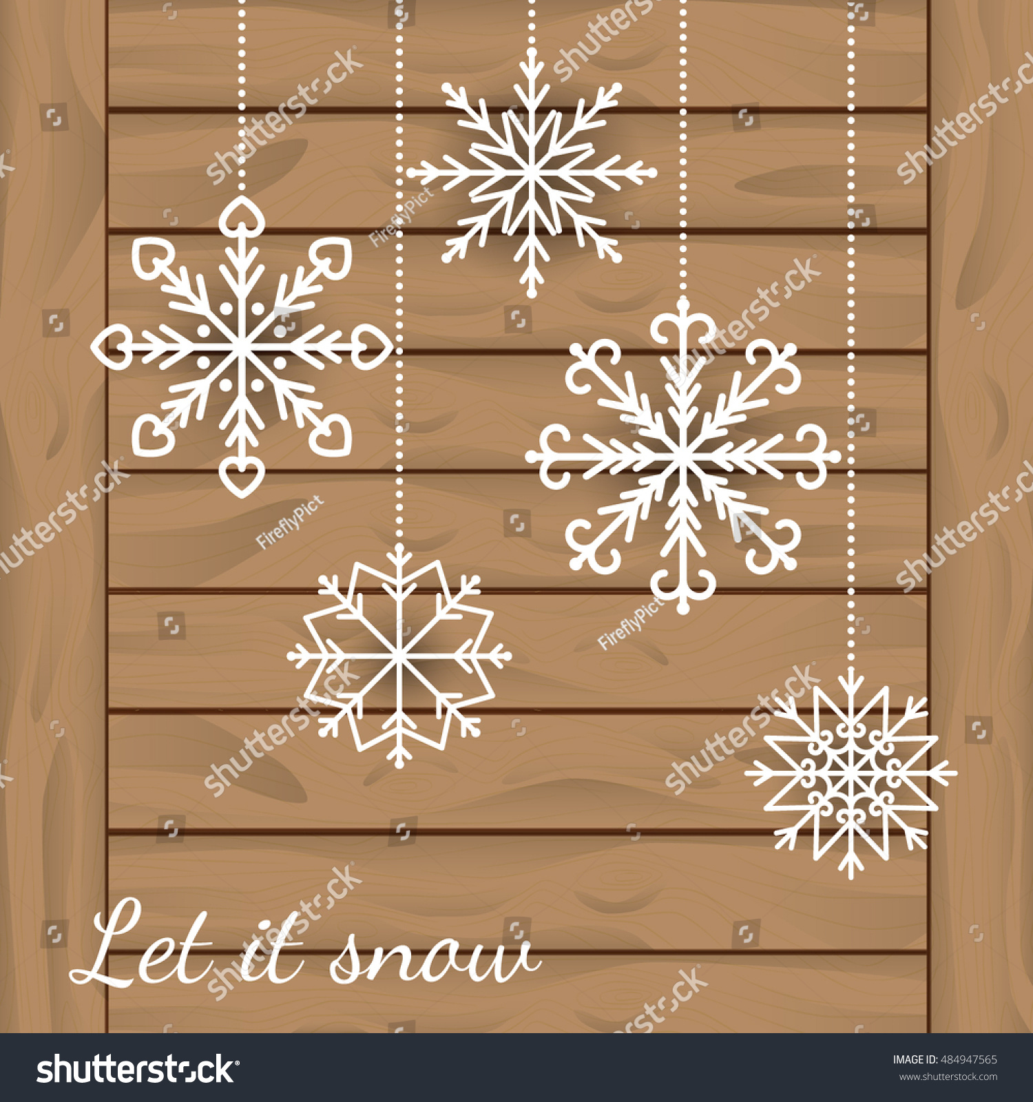 Abstract Winter Background White Snowflakes Hanging Stock Vector ...