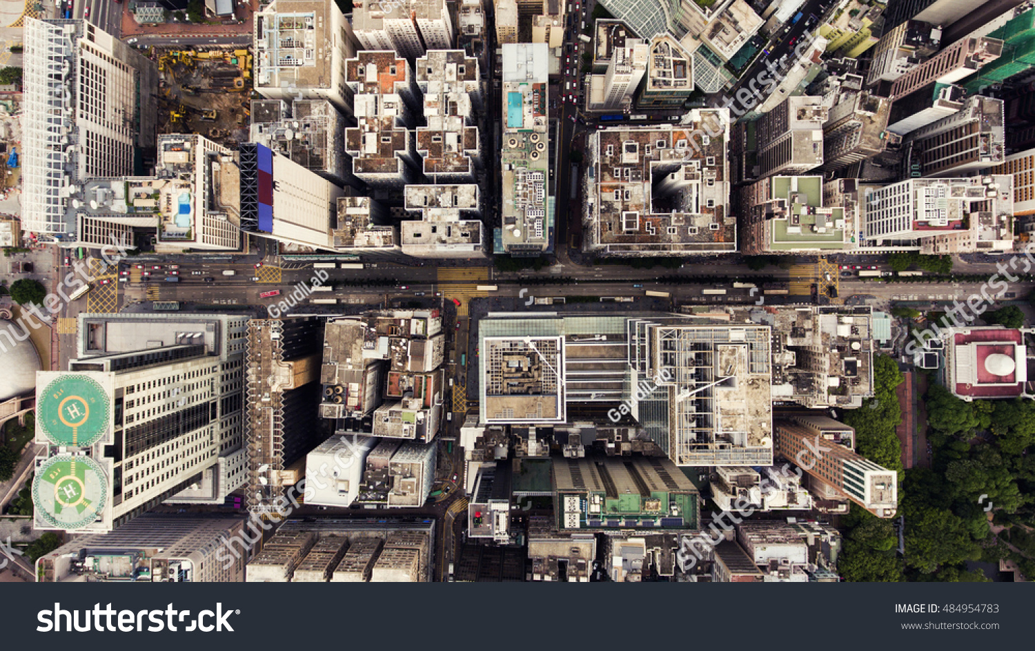 Top View Aerial Photo From Flying Drone Of A HongKong Global City With Development Buildings