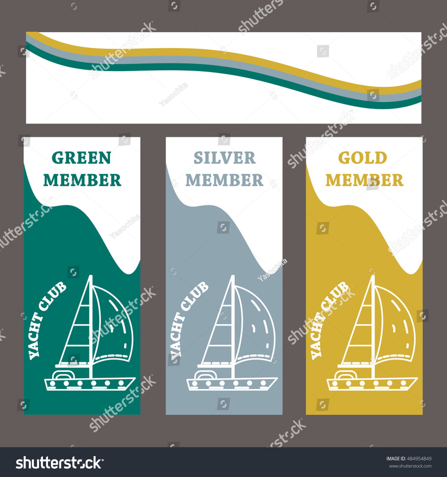 Vector template yacht club yacht thin stock vector 484954849 vector template for yacht club yacht in thin line stile on green silver and toneelgroepblik Images