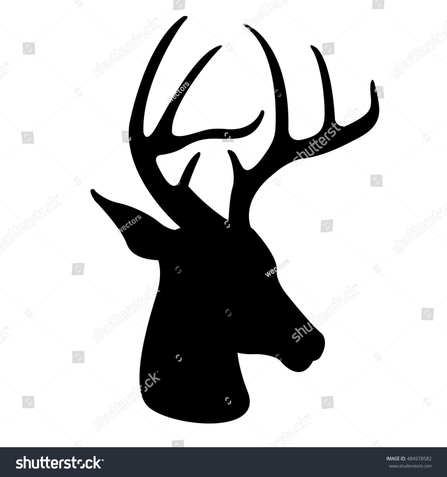 Deer Head Vector Illustration Black Silhouette Stock