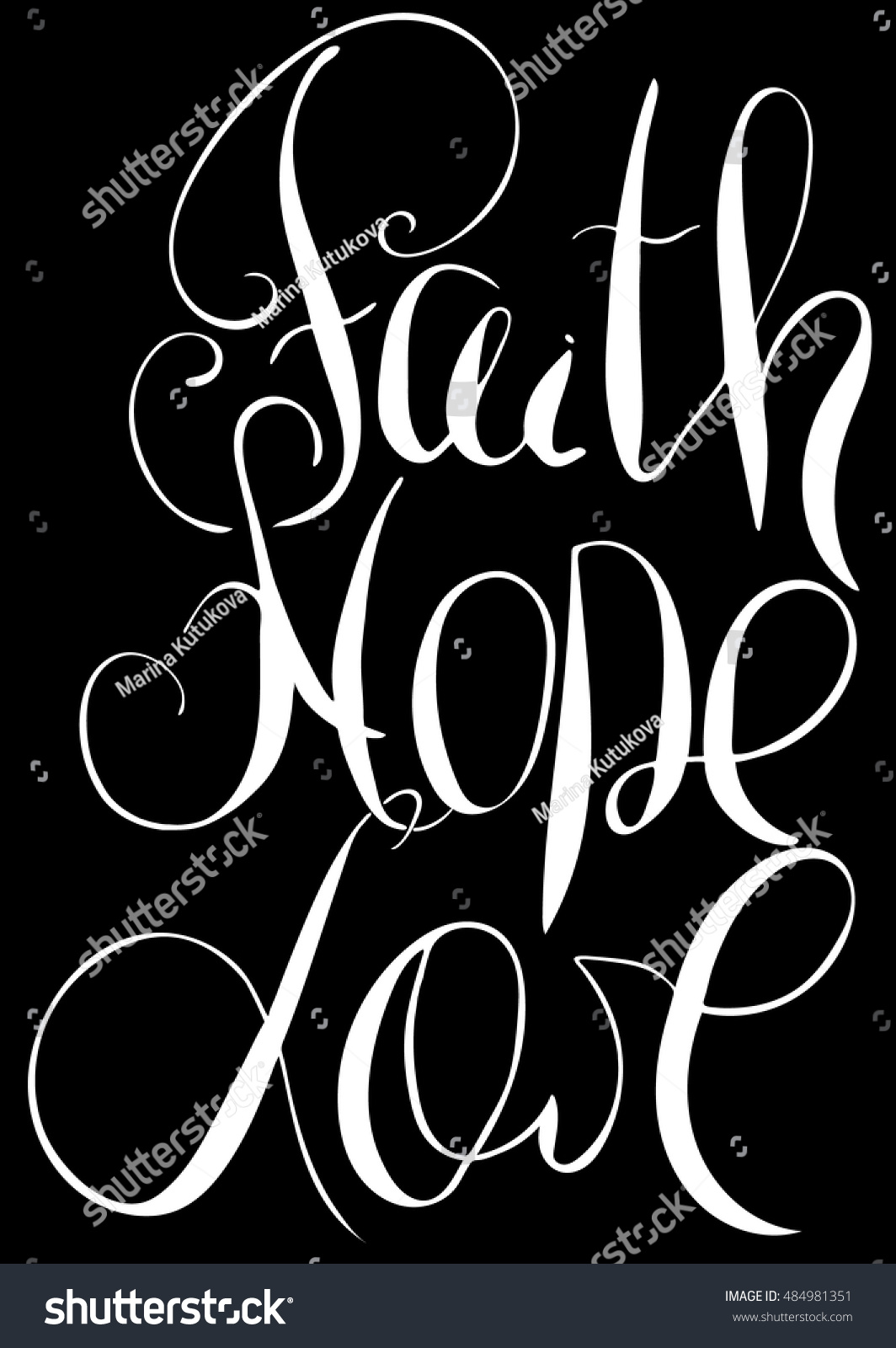 Love Faith Hope Quotes Faith Hope Love Inspirational Motivational Quote Stock Vector