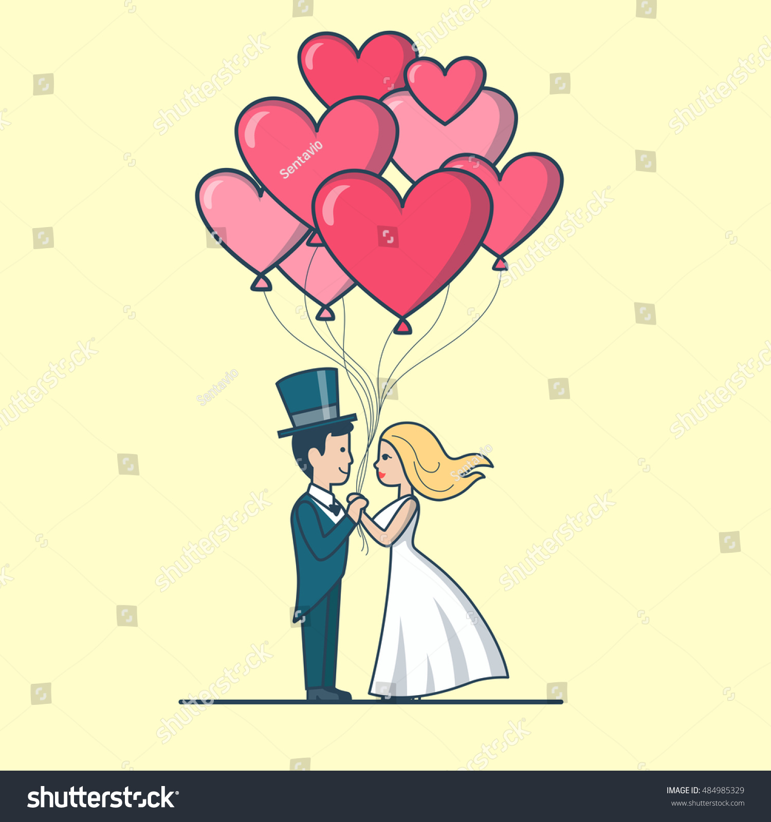 Linear Flat Newlyweds Couple Dressed Wedding Stock Vector Royalty