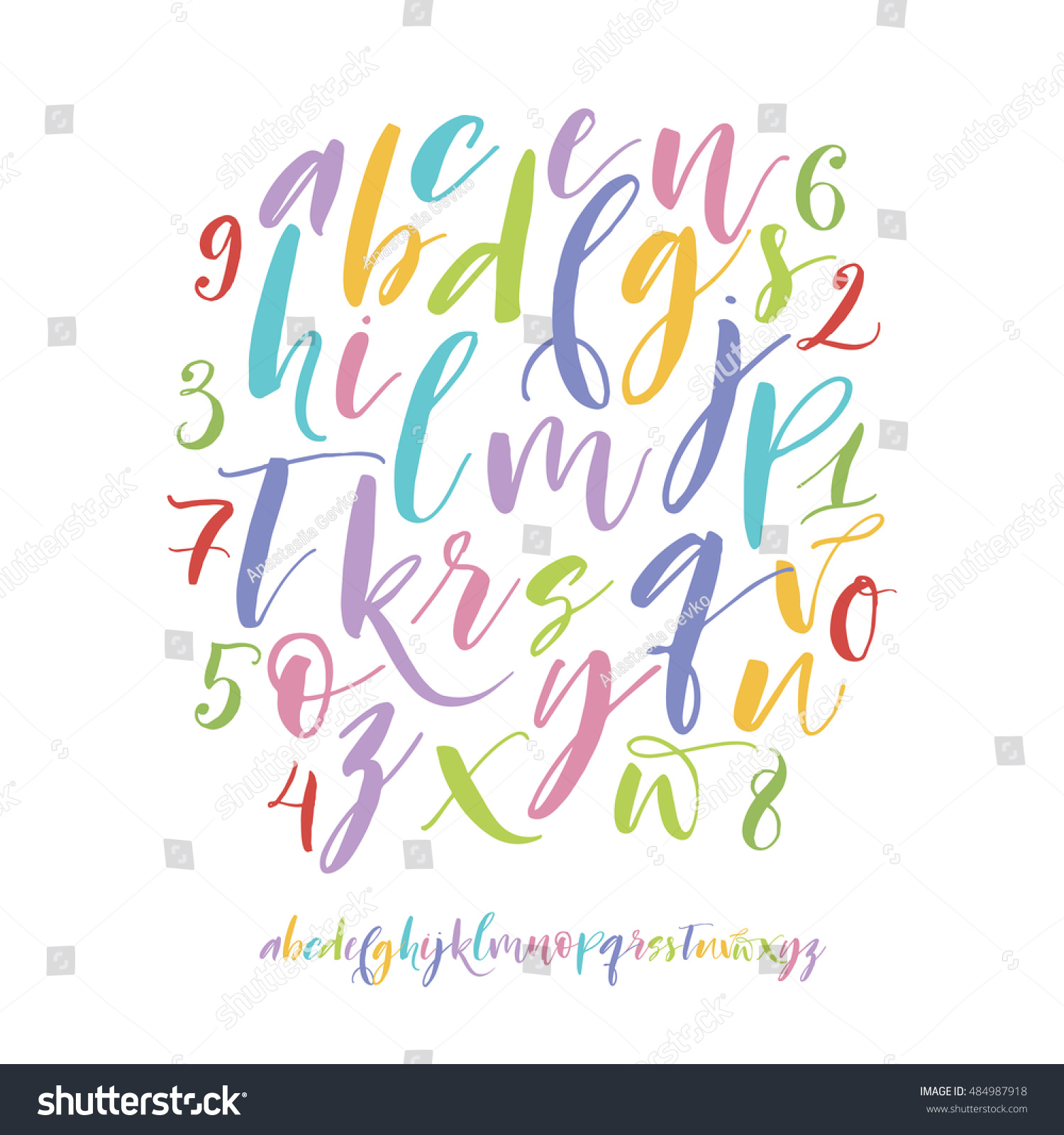 Collection Hand Drawn Color Letters Vector Stock Vector