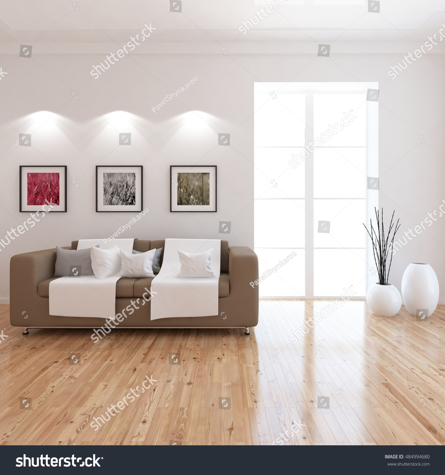 White Room Brown Sofa Living Room Stock Illustration 484994680 ...
