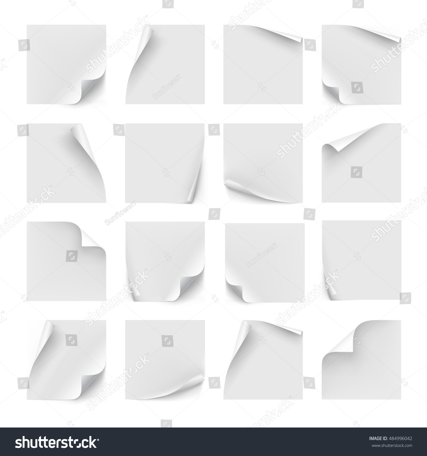 vector set white stickers paper note stock vector  paper for note memo and notice sticky page