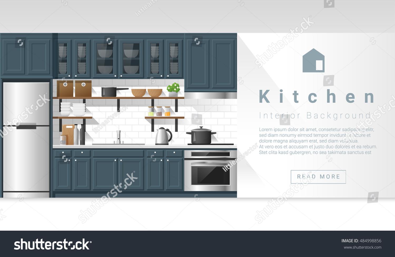 Interior design modern kitchen background vector stock for Kitchen design vector