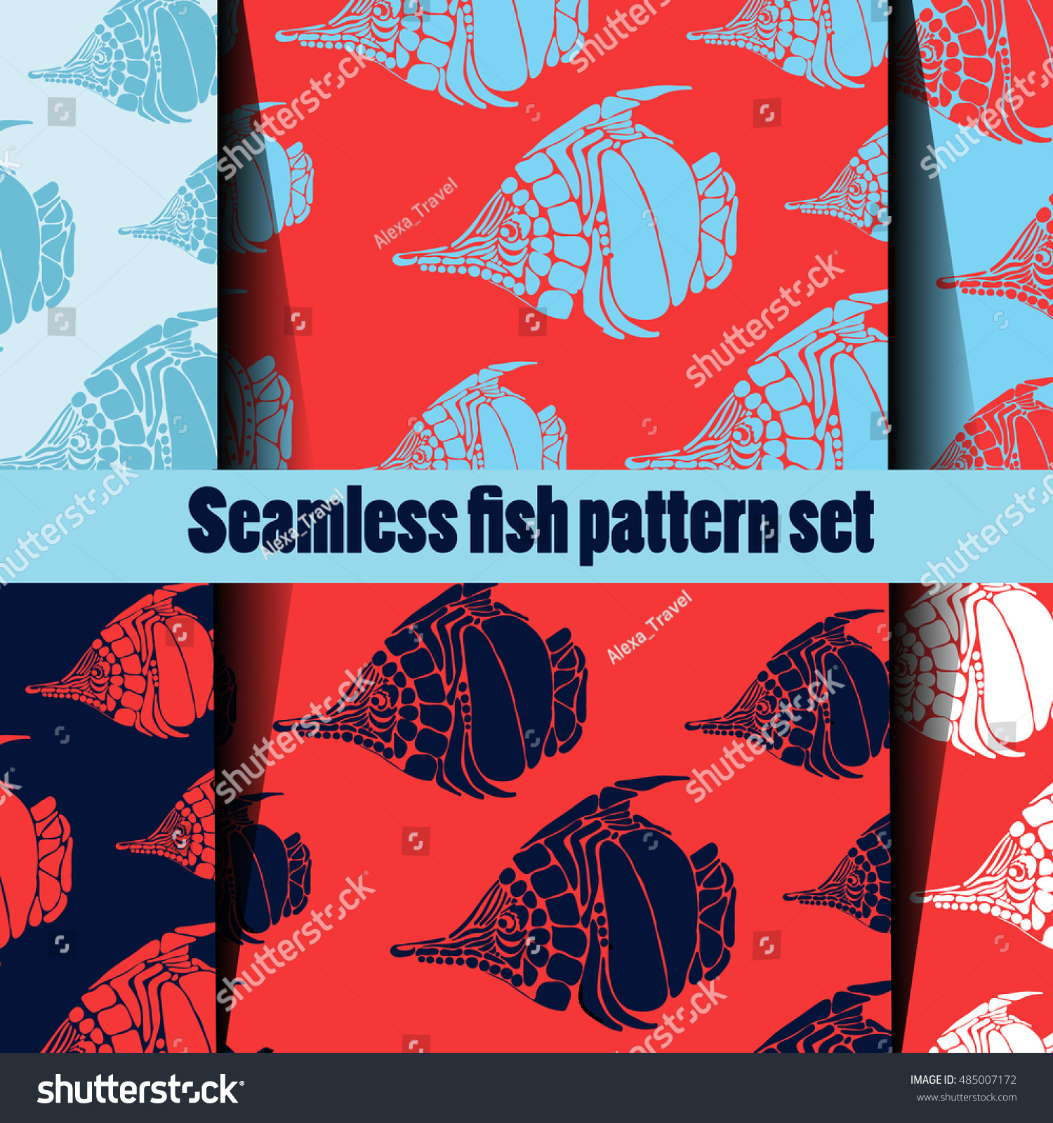 Vector Seamless Pattern Set Shapes Outlined Stock Vector 485007172 ...
