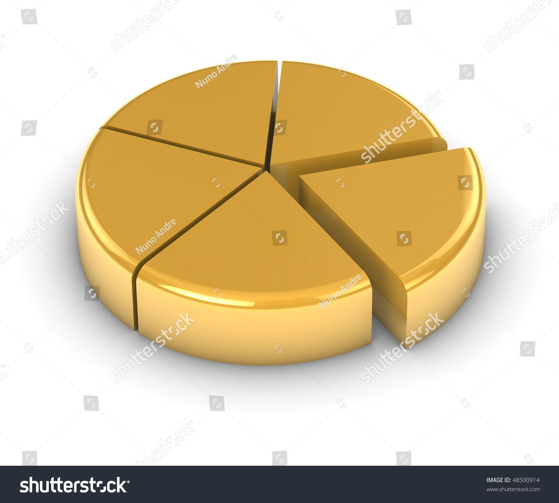Golden Pie Chart On White Background Stock Illustration 48500914