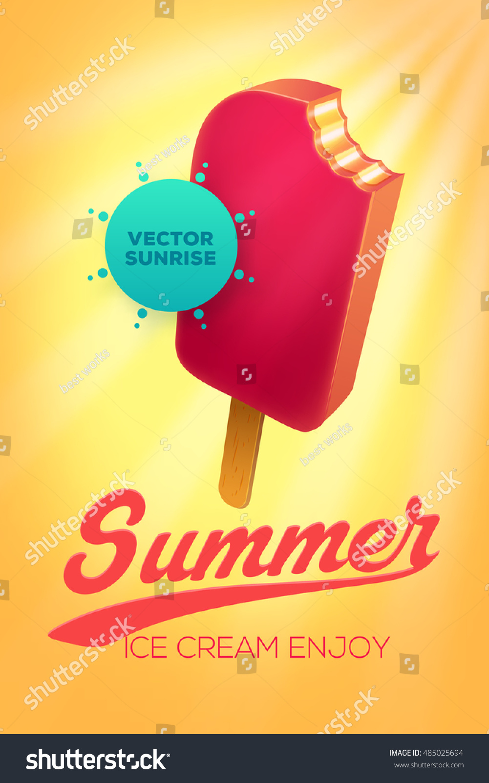 Poster design vector - Summer Vector Poster Design Template With Ice Cream In Sky