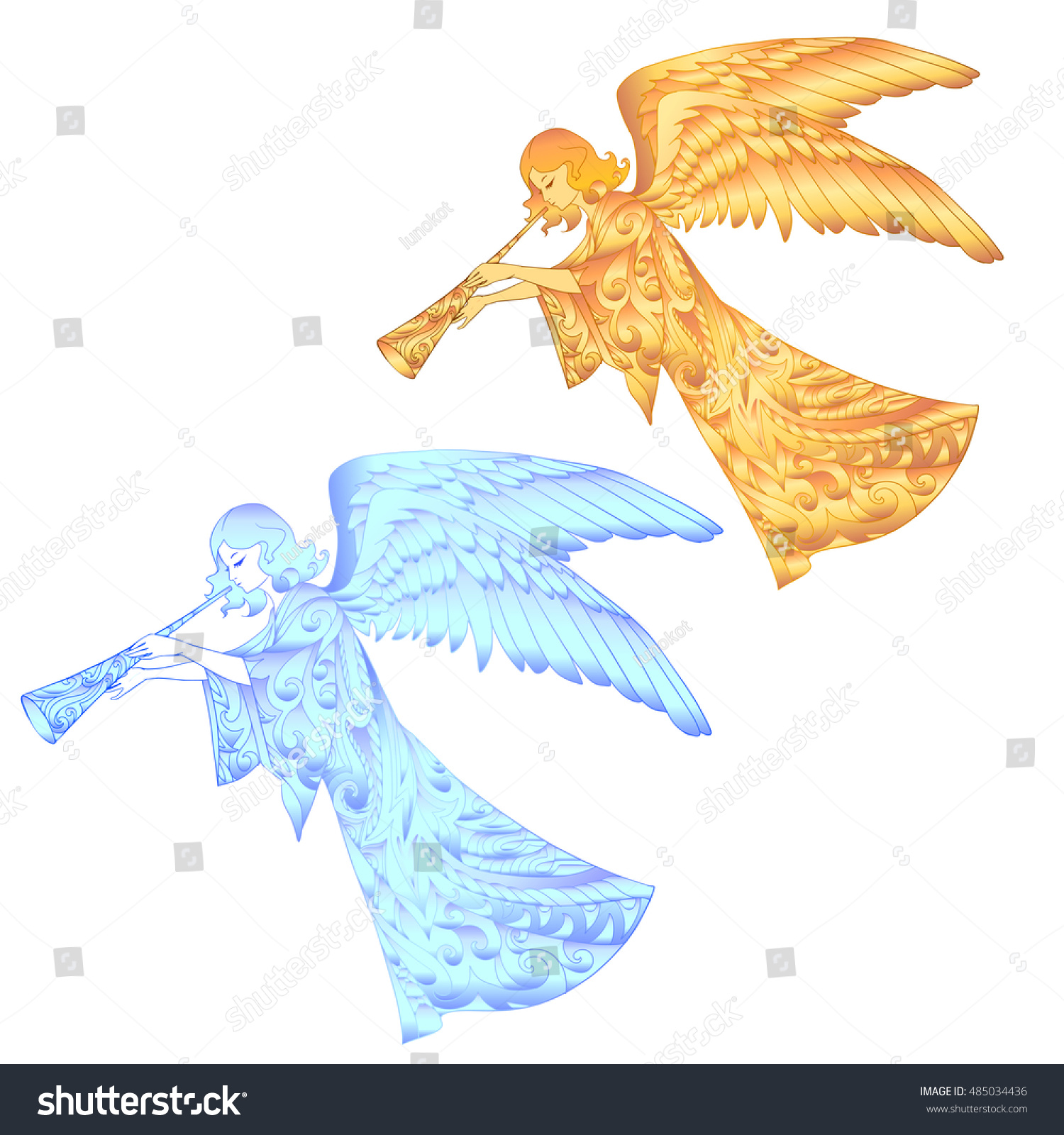 Blue Golden Christmas Angels Isolated On Stock Vector (2018 ...