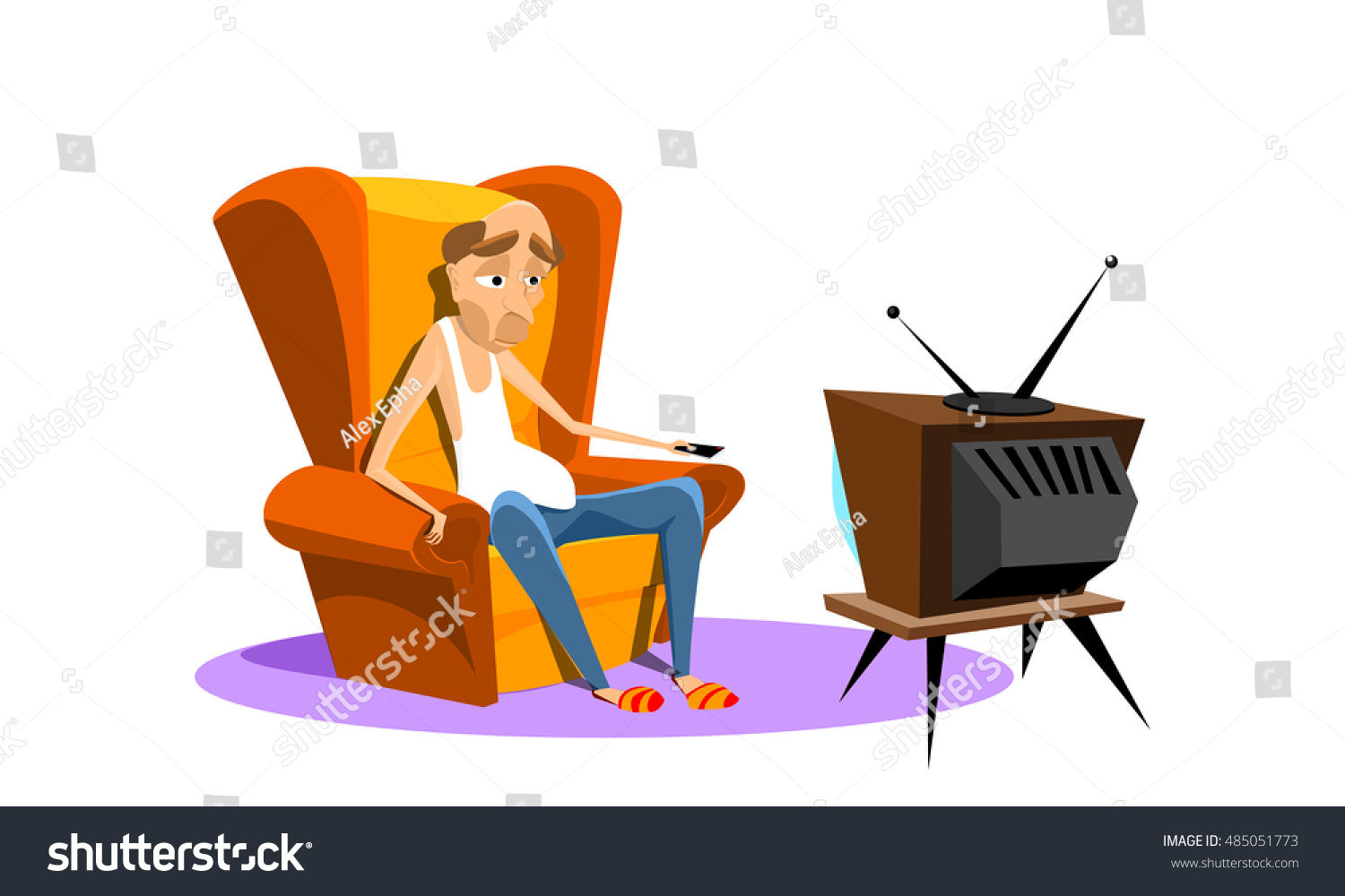 Man sitting on armchair watching tv stock vector 485051773 for Sitting in armchair