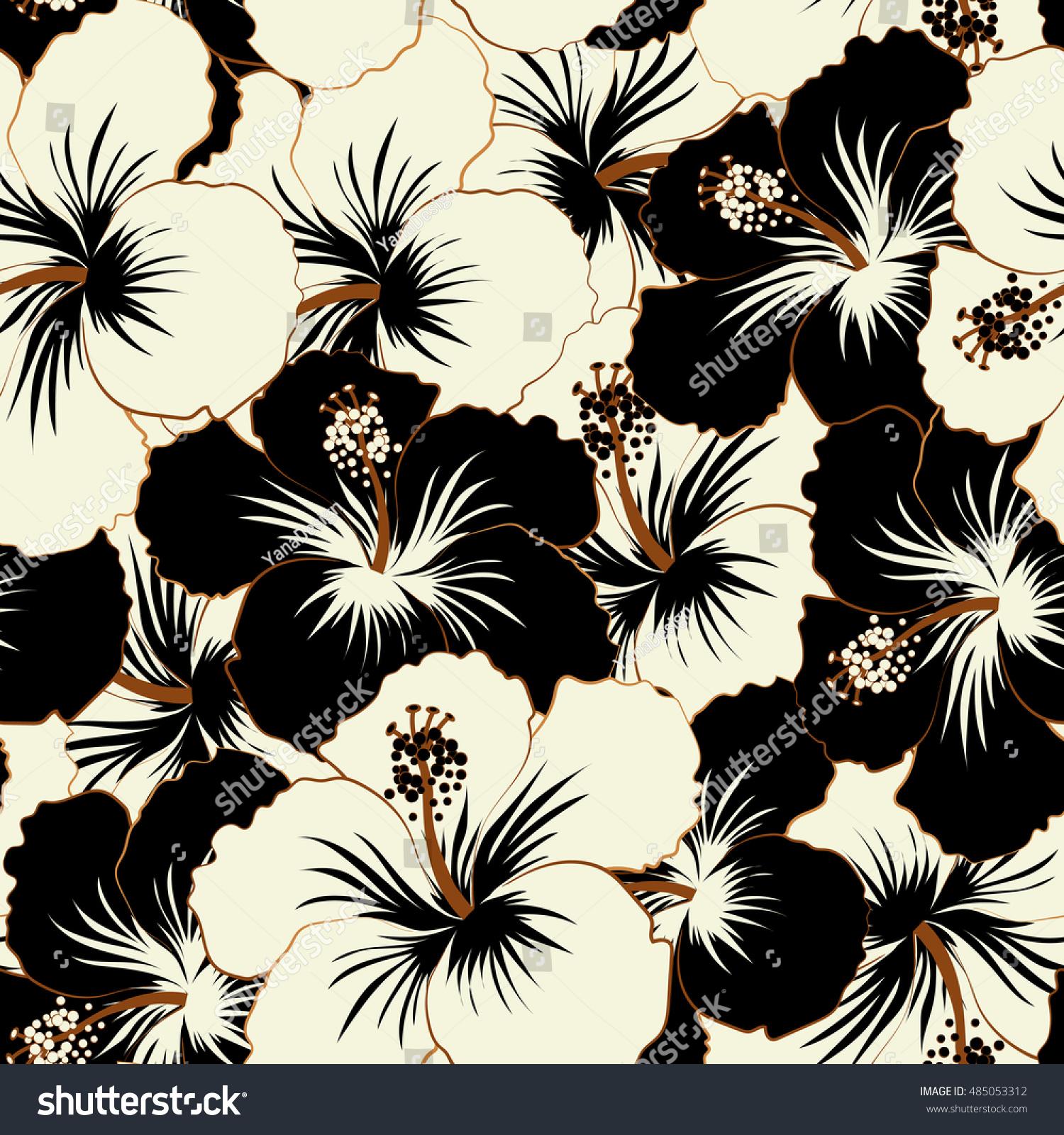 Hibiscus flowers and buds retro seamless pattern illustration in hibiscus flowers and buds retro seamless pattern illustration in black and white colors ez canvas izmirmasajfo