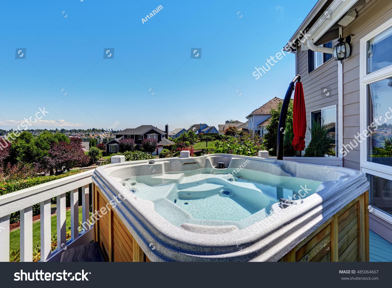 Closeup Wooden Hot Tub Luxury House Stock Photo (Edit Now) 485064667 ...