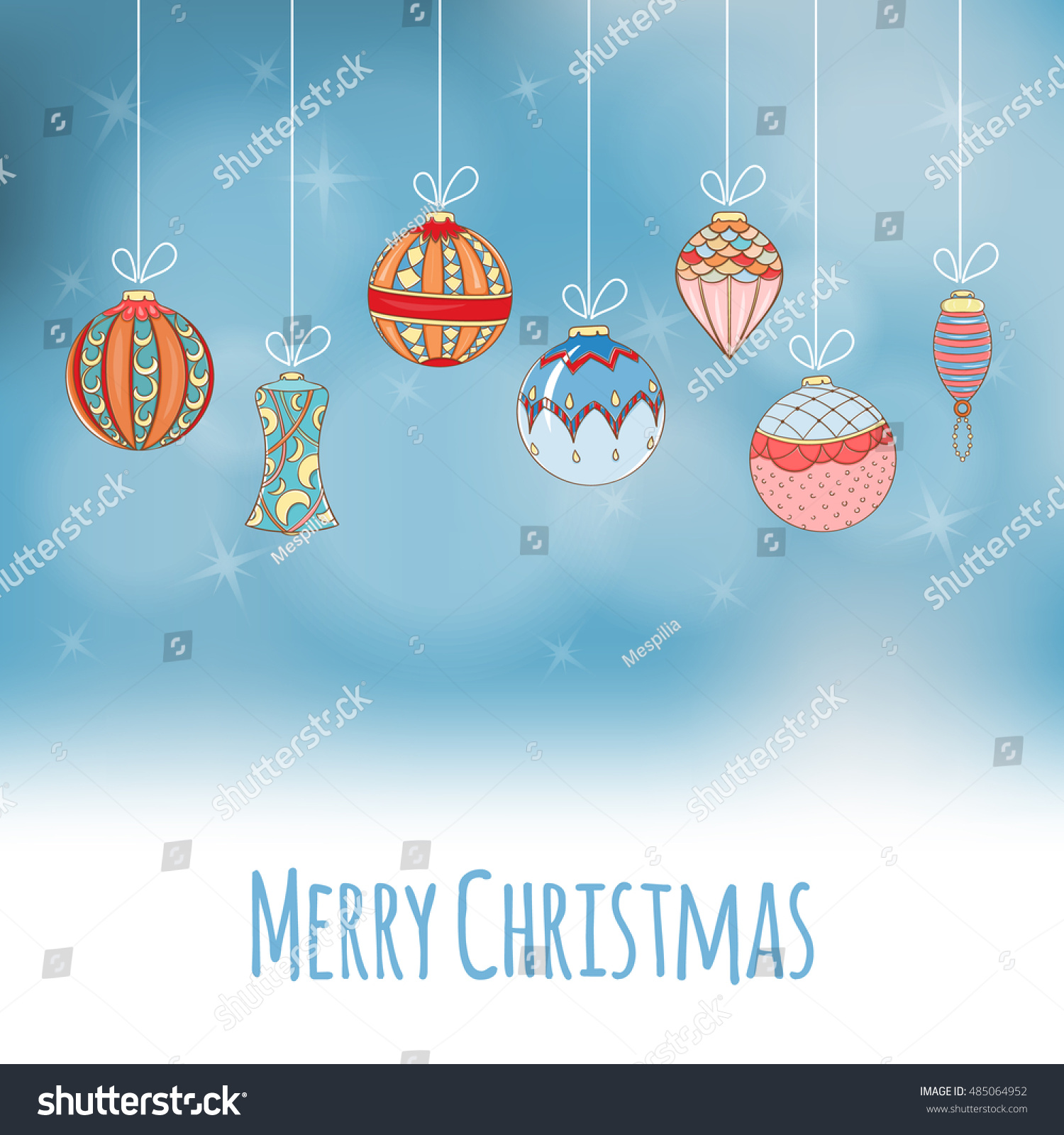christmas and new year invitation card hand drawn vector illustration of balls on light background