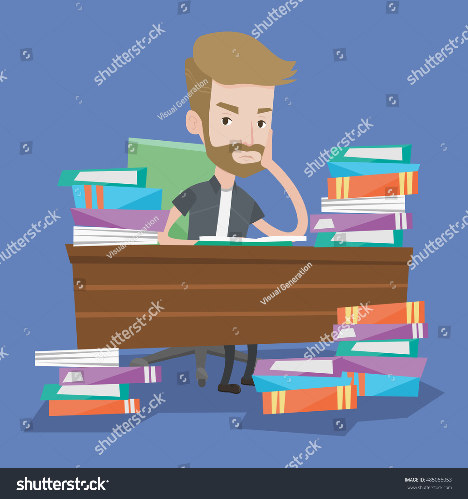 Student Sitting Table Piles Books Young Stock Vector