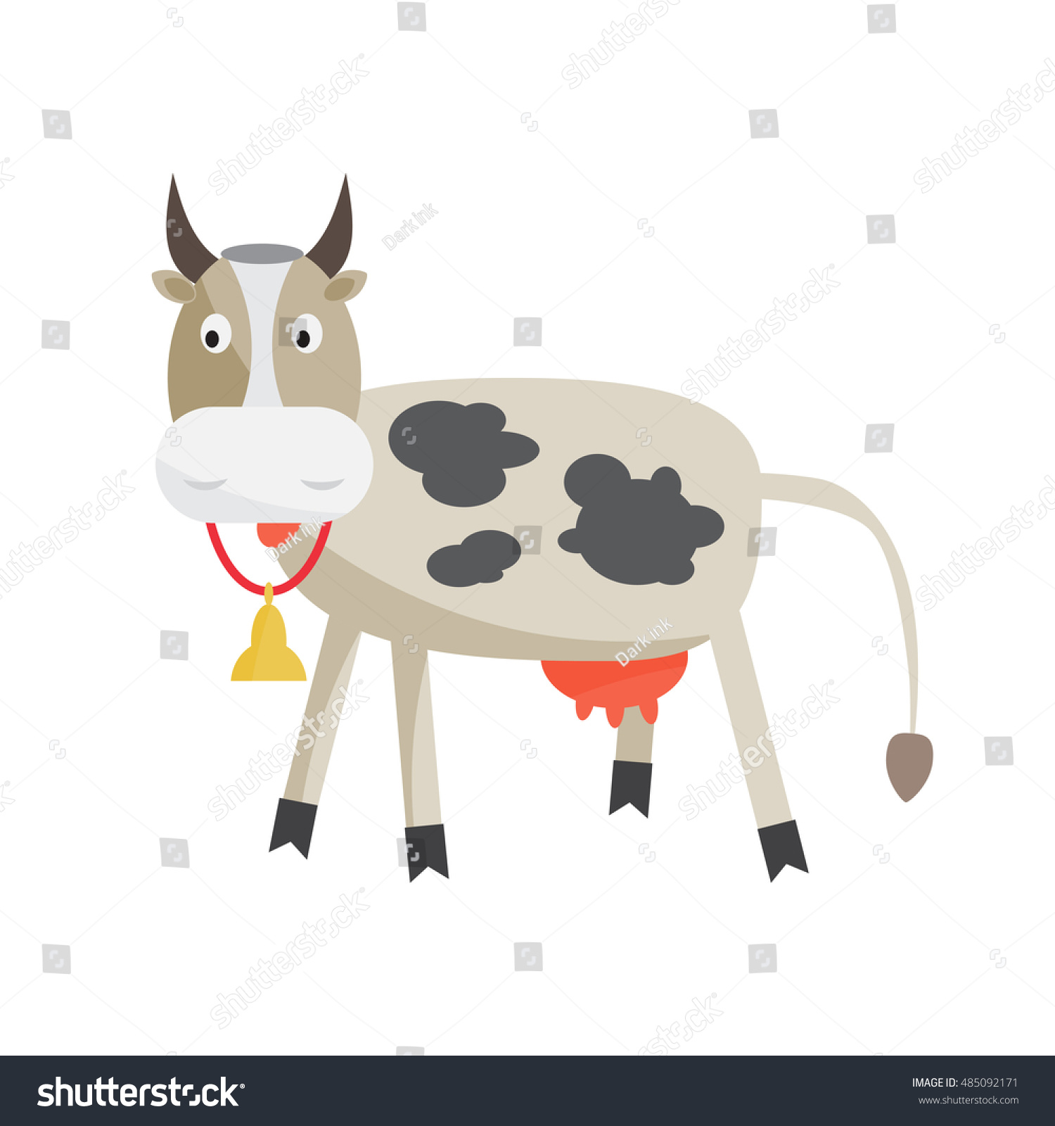 cow bell around his neck cattlebreeding stock vector royalty free 485092171 shutterstock