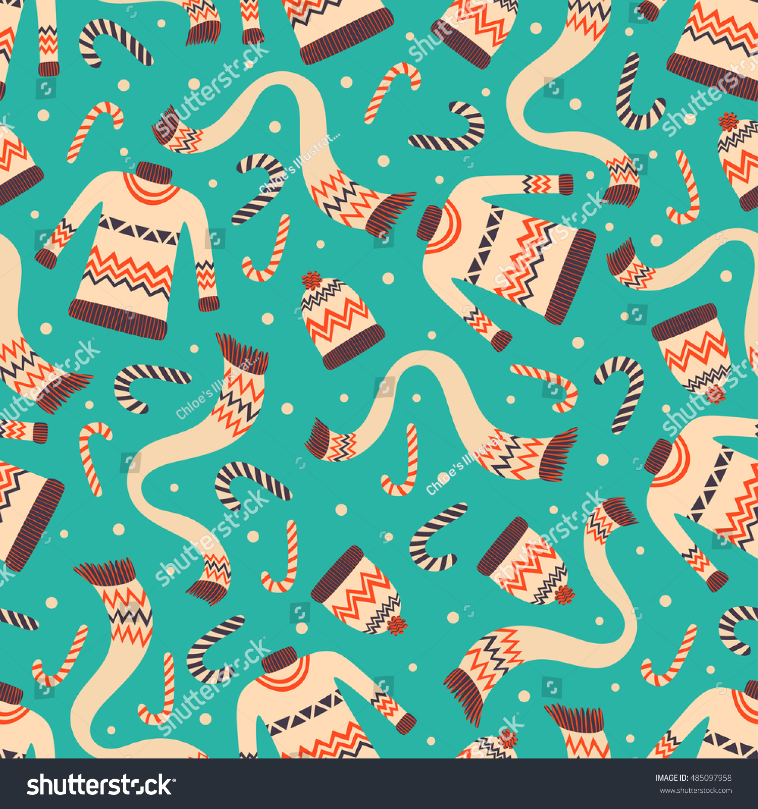 Vector Vintage Christmas Wrapping Paper Winter Stock Vector ...