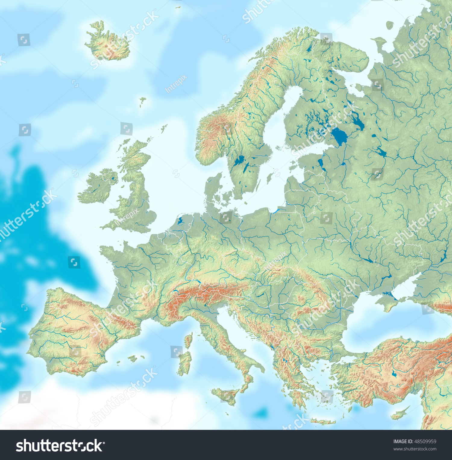 Map Europe Drainage Borders Relief Hypsometric Stock Illustration