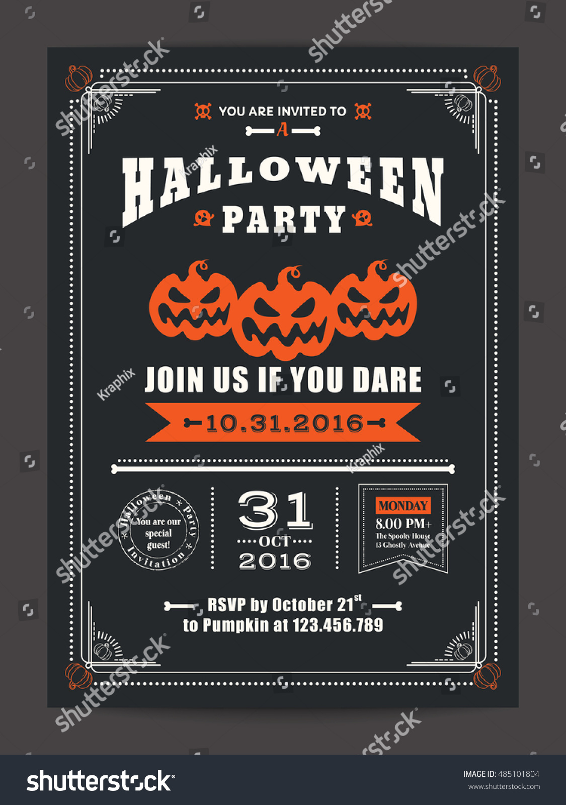 halloween night party with scary pumpkins design background for invitation card poster flyer - Halloween Night Party