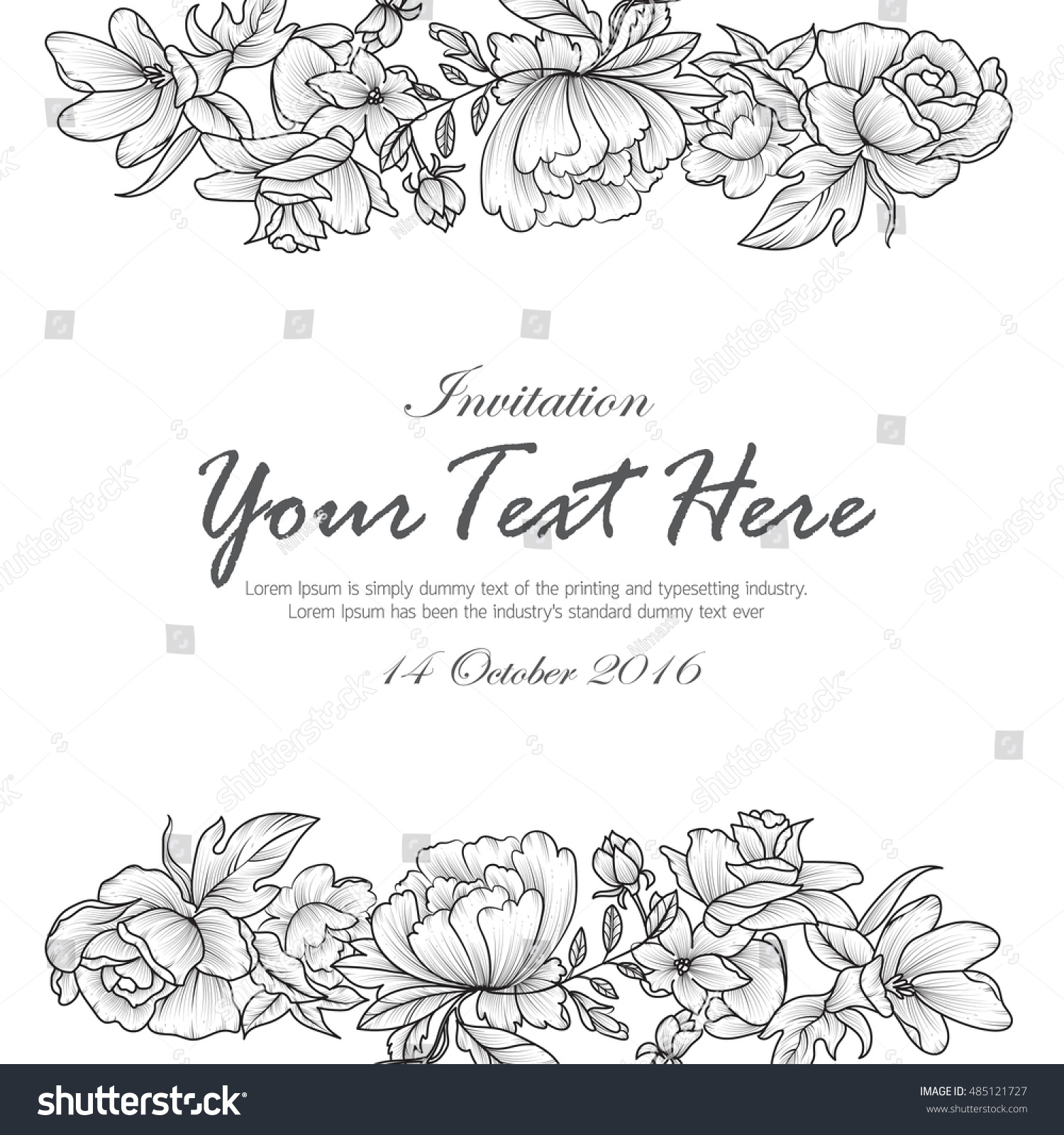 Hand Draw Flowers Black White Invitation Stock Vector Royalty Free