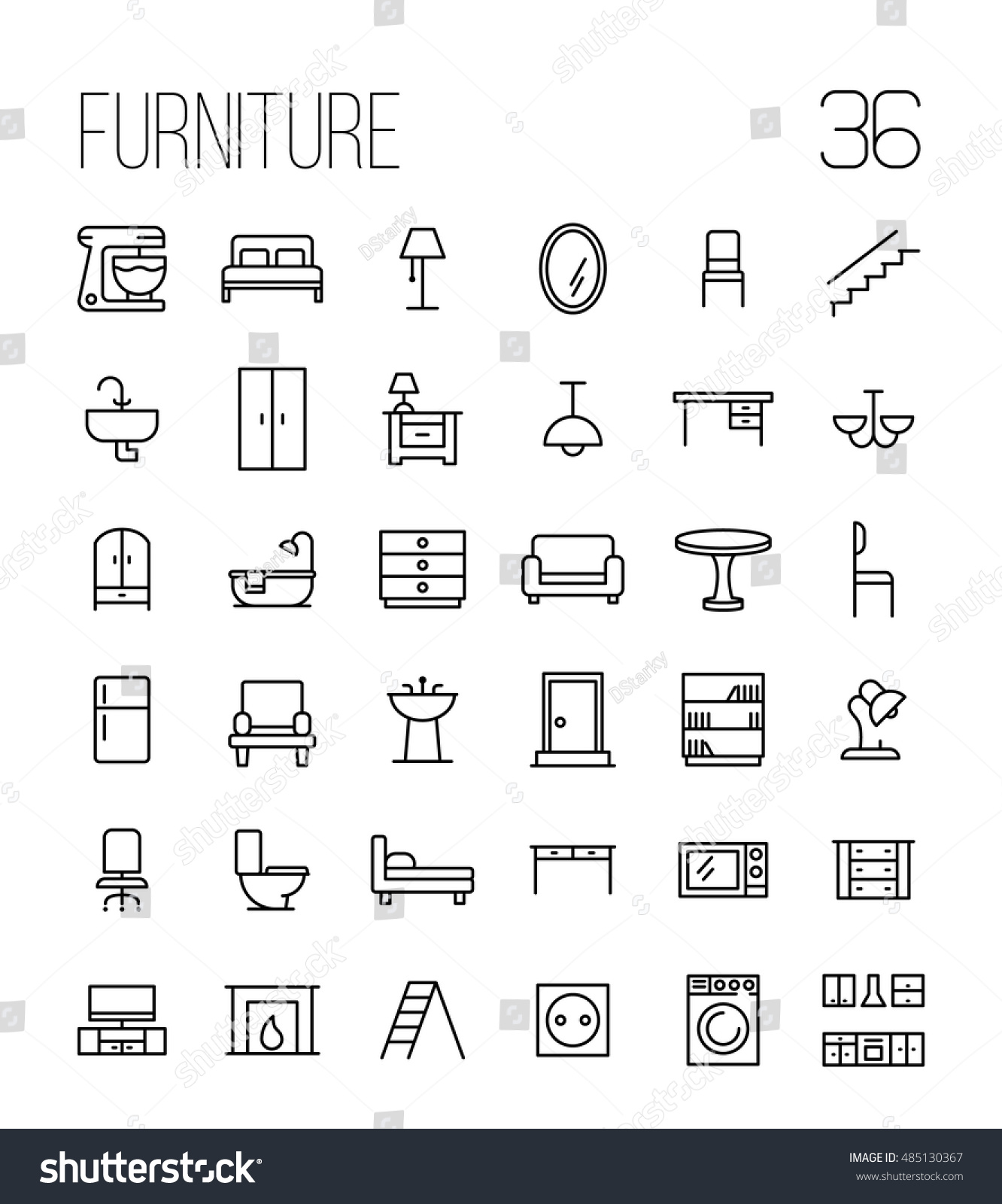 Set furniture icons modern thin line stock vector 485130367 set of furniture icons in modern thin line style high quality black outline home symbols buycottarizona Image collections