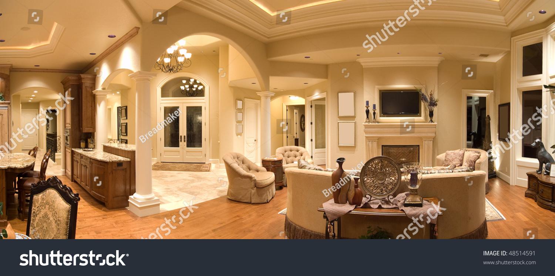 panorama luxury home interior stock photo 48514591