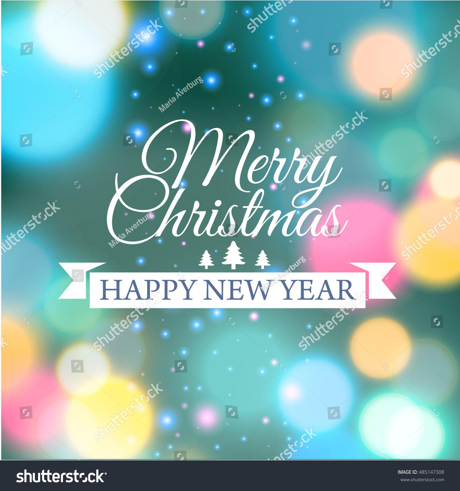 Merry Christmas Ecard Template Vector Illustration Stock Vector ...