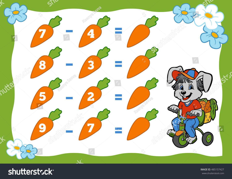 Counting Game Preschool Children Subtraction Worksheets Stock Vector