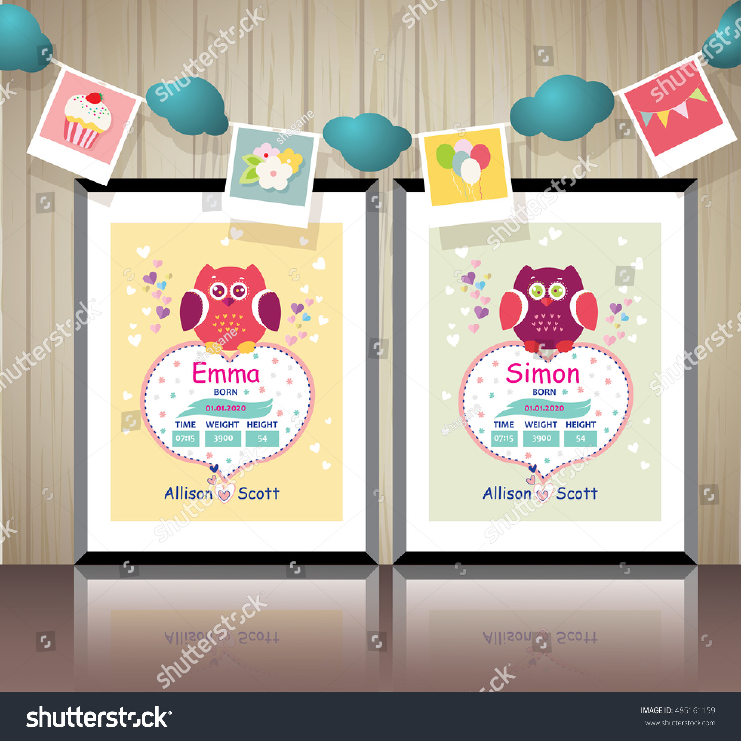 Poster Childrens Room New Born Baby Stock Vector Royalty Free