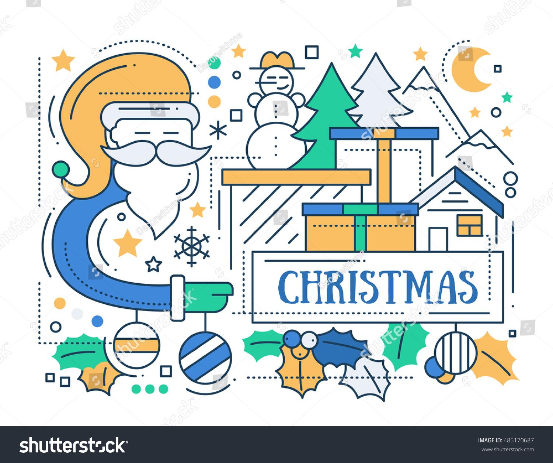 Merry christmas line flat design card stock vector 485170687 merry christmas line flat design card with holidays symbols santa claus tree house buycottarizona Image collections
