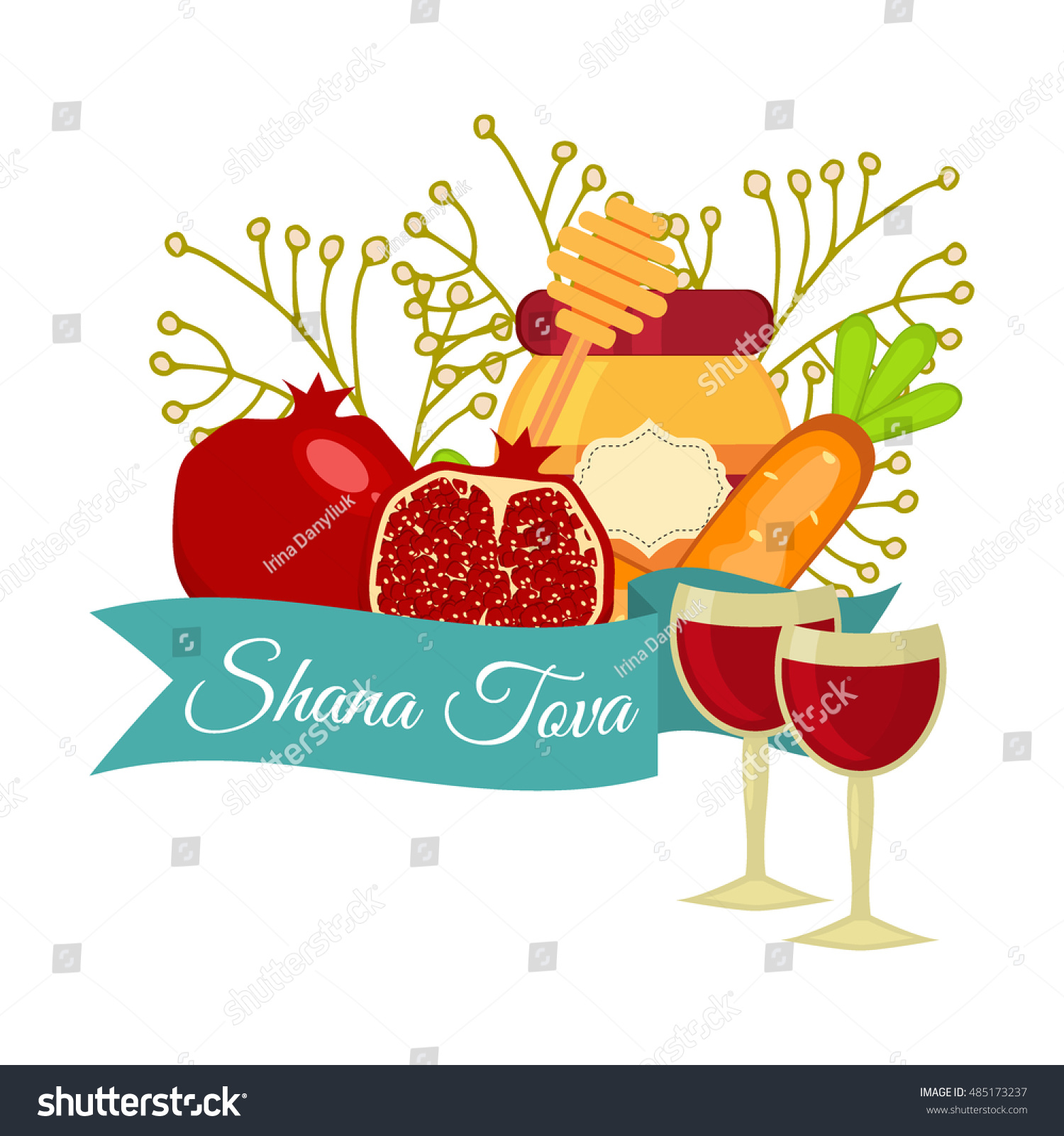 Rosh hashanah jewish new year greeting stock vector 485173237 rosh hashanah jewish new year greeting card set design shana tova apple honey and pomegranate kristyandbryce Choice Image