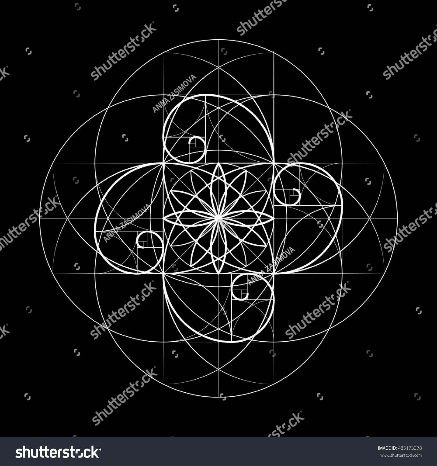 Sacred Geometry Vector Symbol Intersection Number Stock Vector