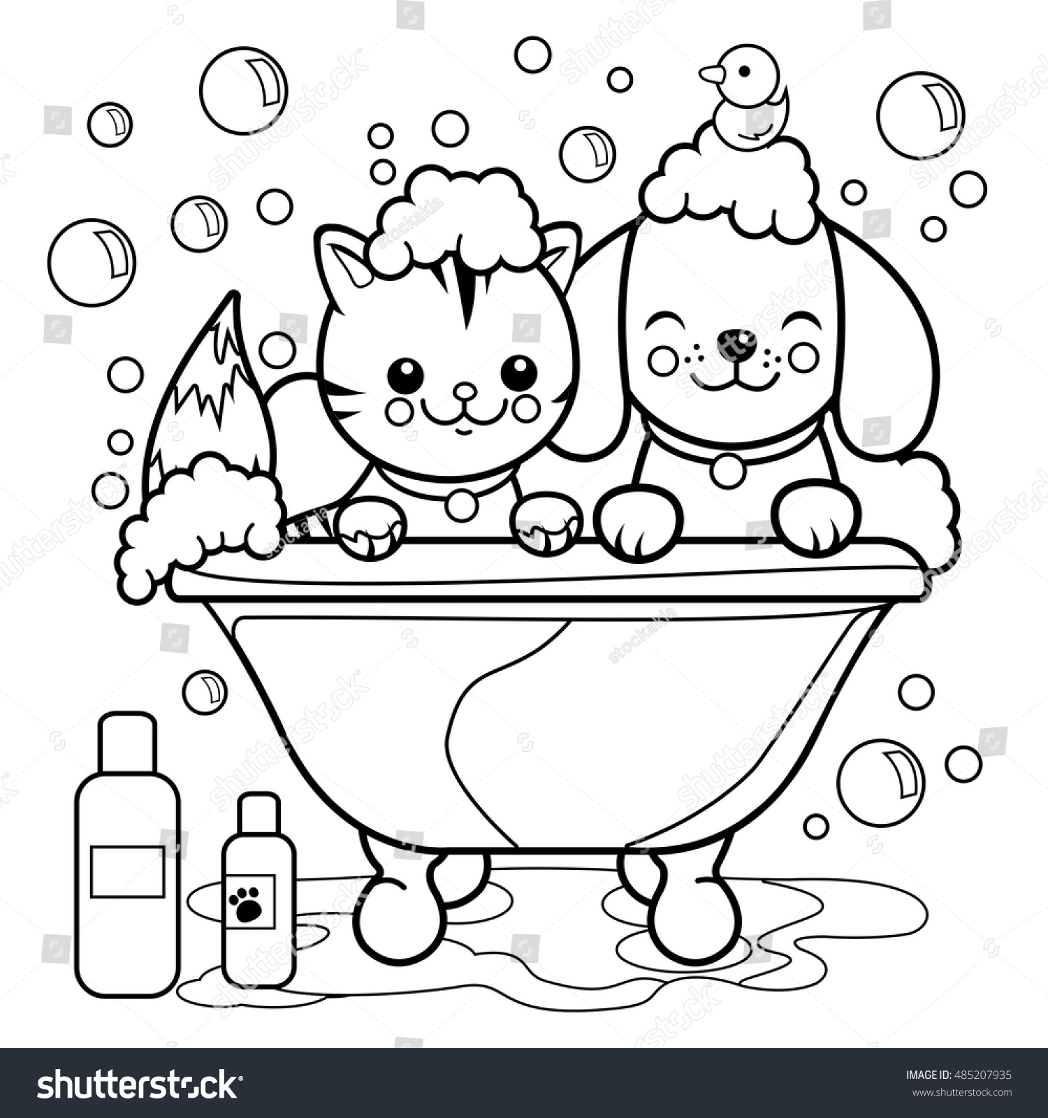 dog cat taking bath coloring book stock vector 485207935