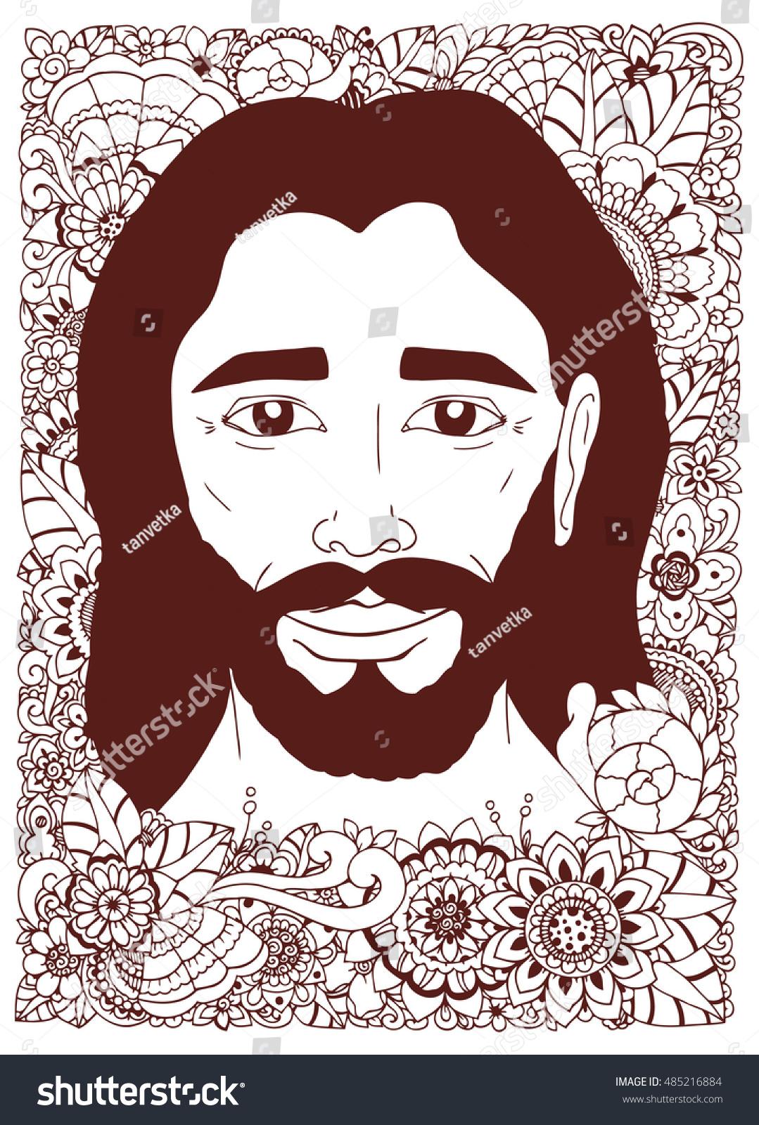 Vector Illustration Zentangl Portrait Jesus Flowers Stock Vector ...