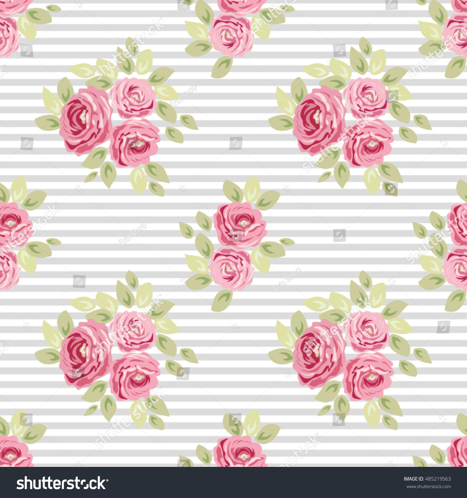 Cute Seamless Shabby Chic Pattern With Roses And Stripes Ideal For Kitchen Textile Or Bed Linen