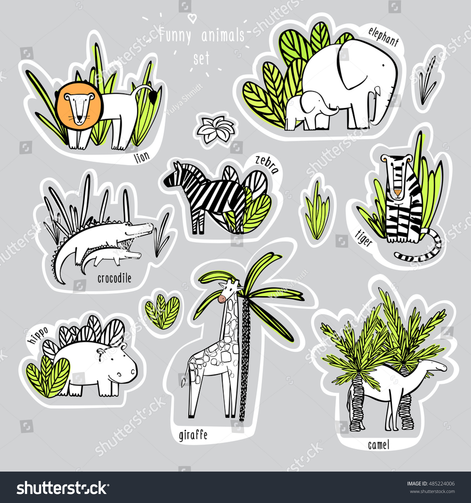 African Animals Vector Set Funny Animals Stock Vector