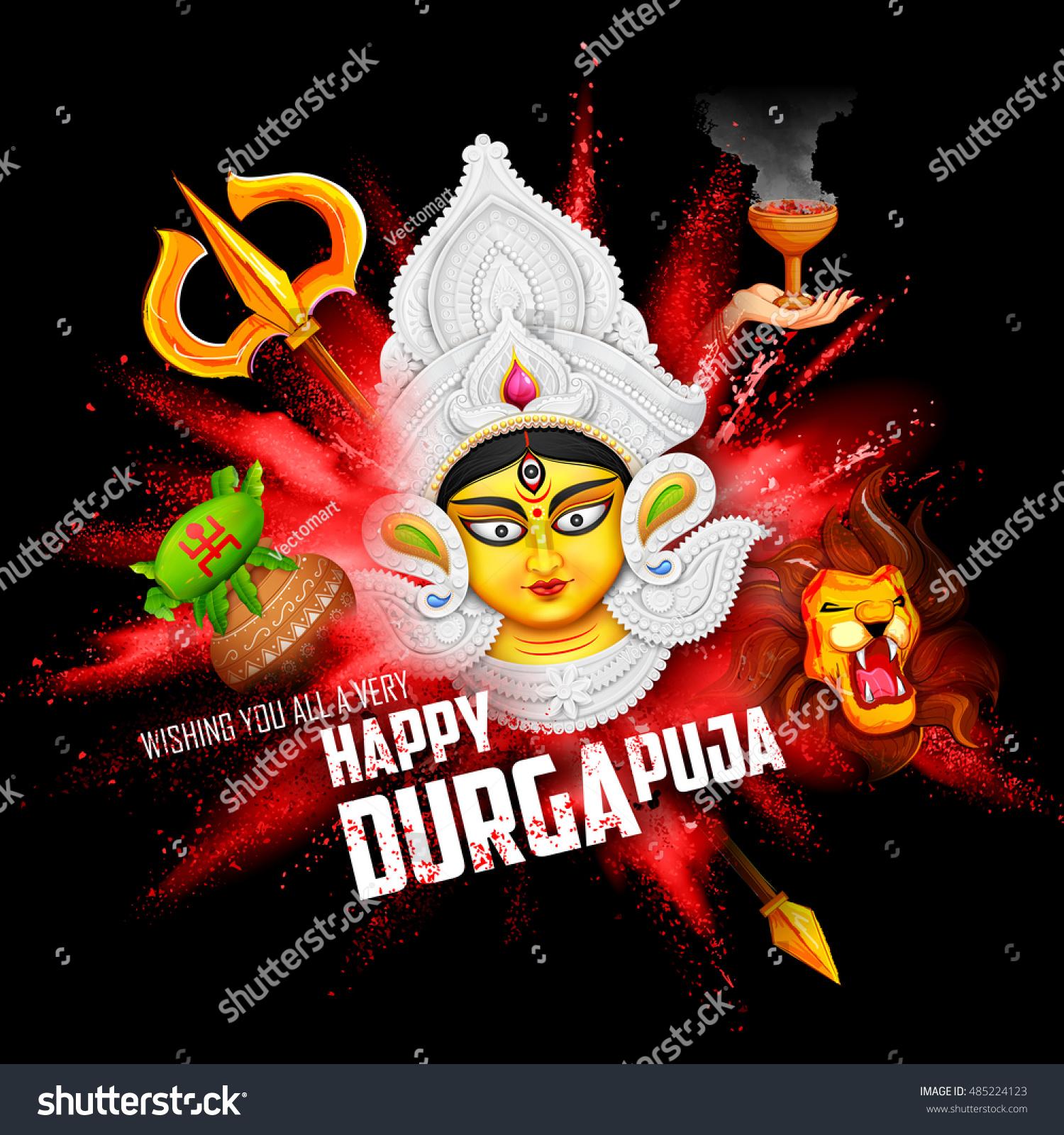 Illustration Goddess Durga Subho Bijoya Happy Stock Vector Royalty