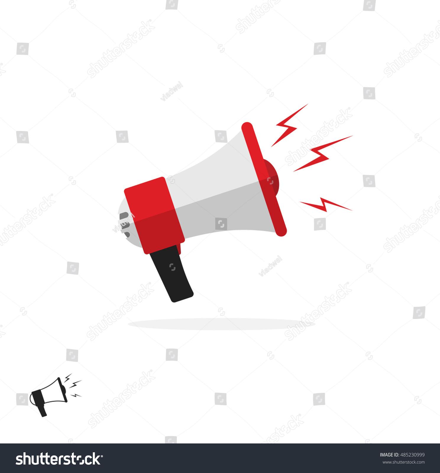 Megaphone Icon Isolated On White Background Stock Illustration Bullhorn Wiring Diagram Flat Cartoon Colorful Symbol Speaking Trumpet