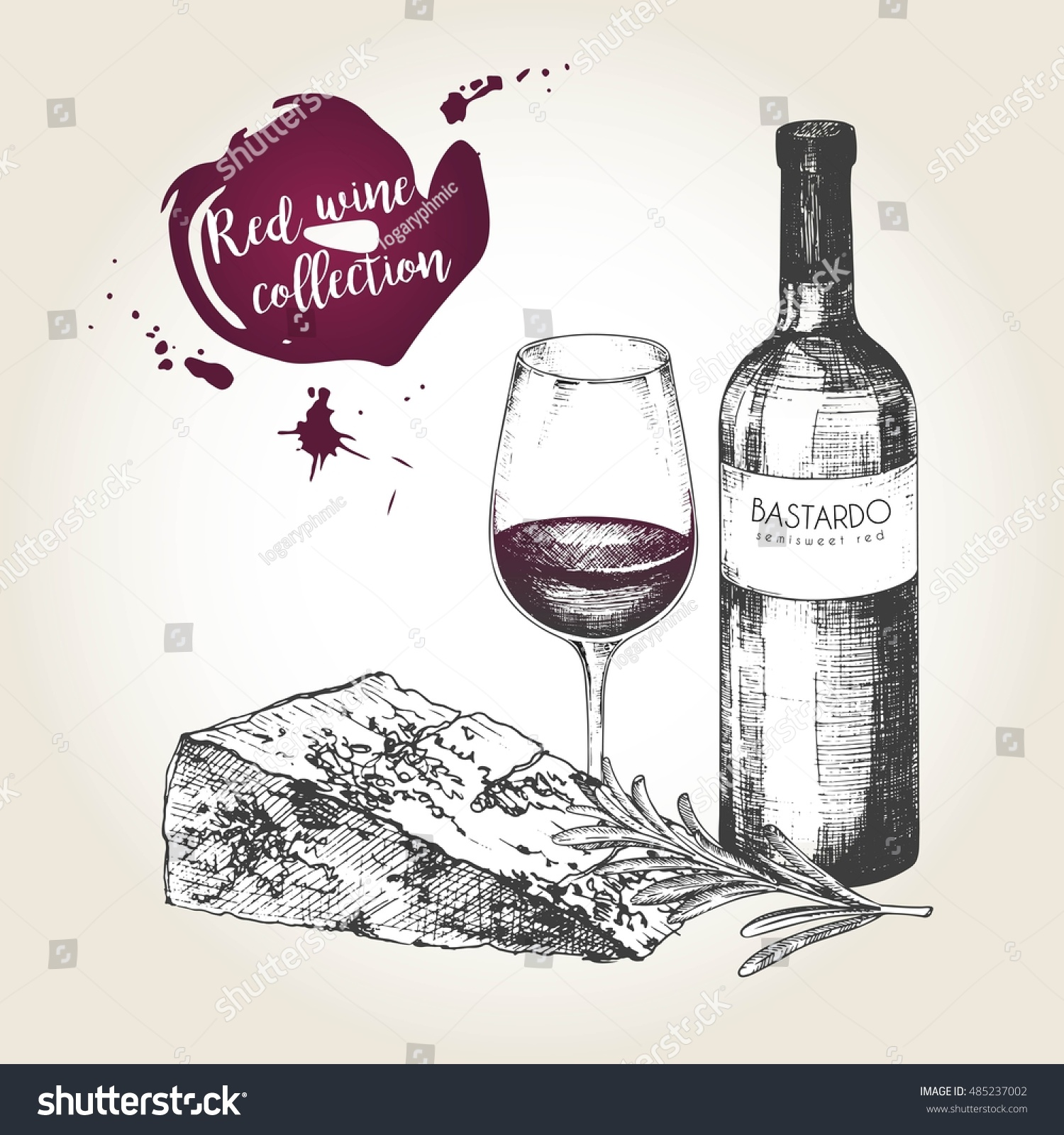 Vector set of red wine set. Engraved vintage style. Bottle, glass, cheese