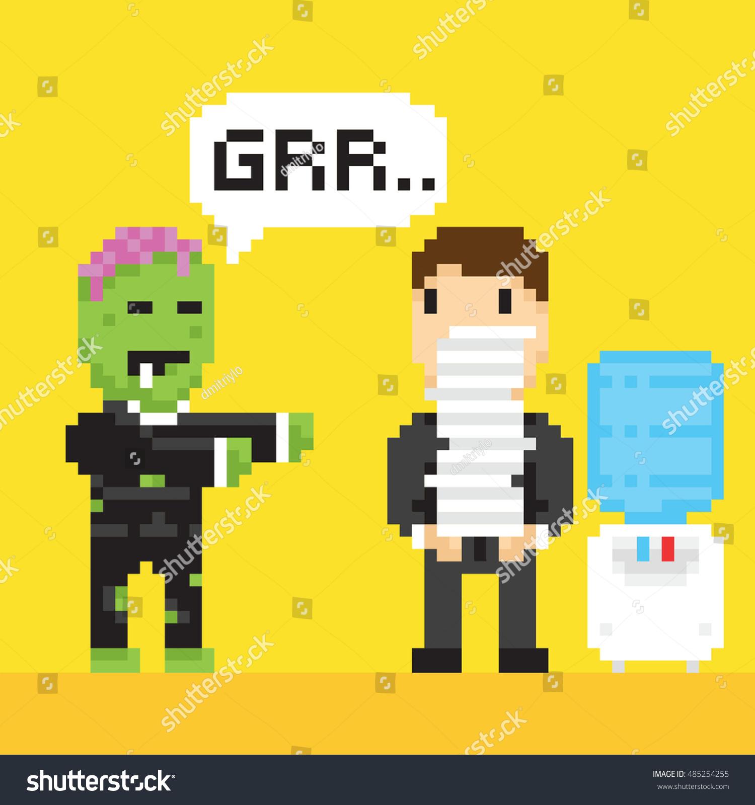 Pixel Art Game Style Halloween Scary Stock Vector