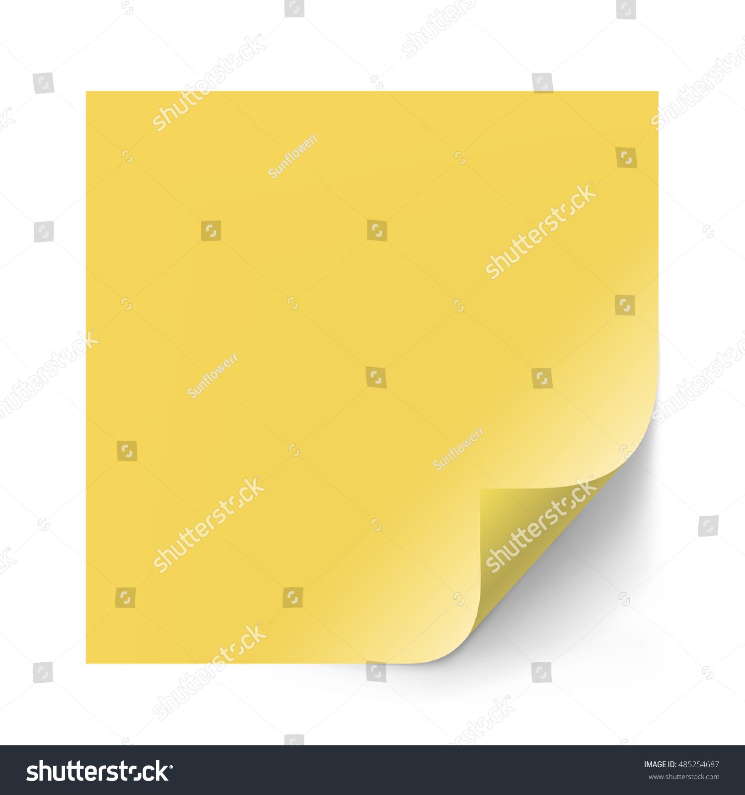 vector yellow sticker paper note memo stock vector 485254687 vector yellow sticker paper note for memo and notice sticky page curl blank
