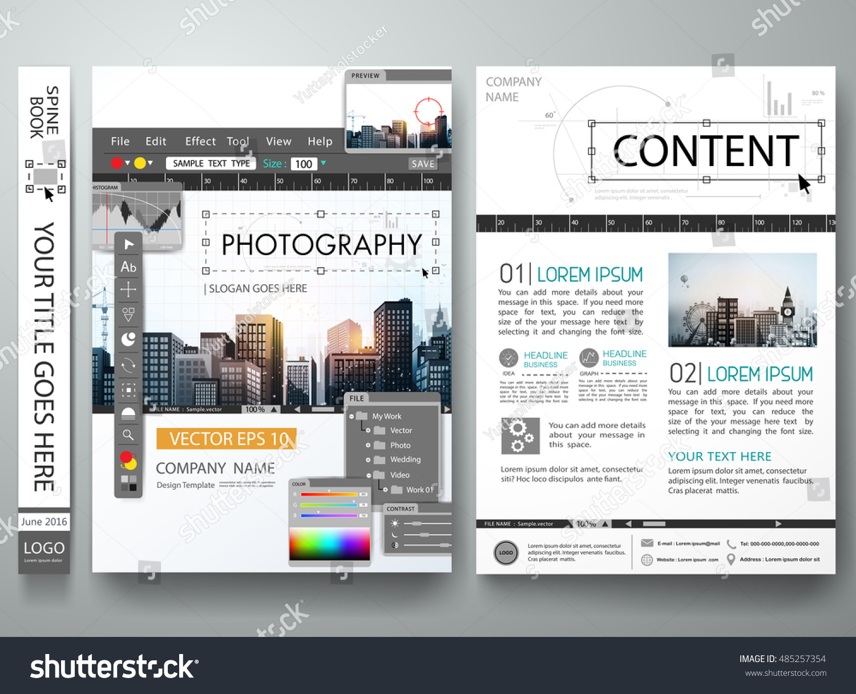 Brochure Design Template VectorPhotography Editor MonitorCover Book Portfolio Presentation PosterCity