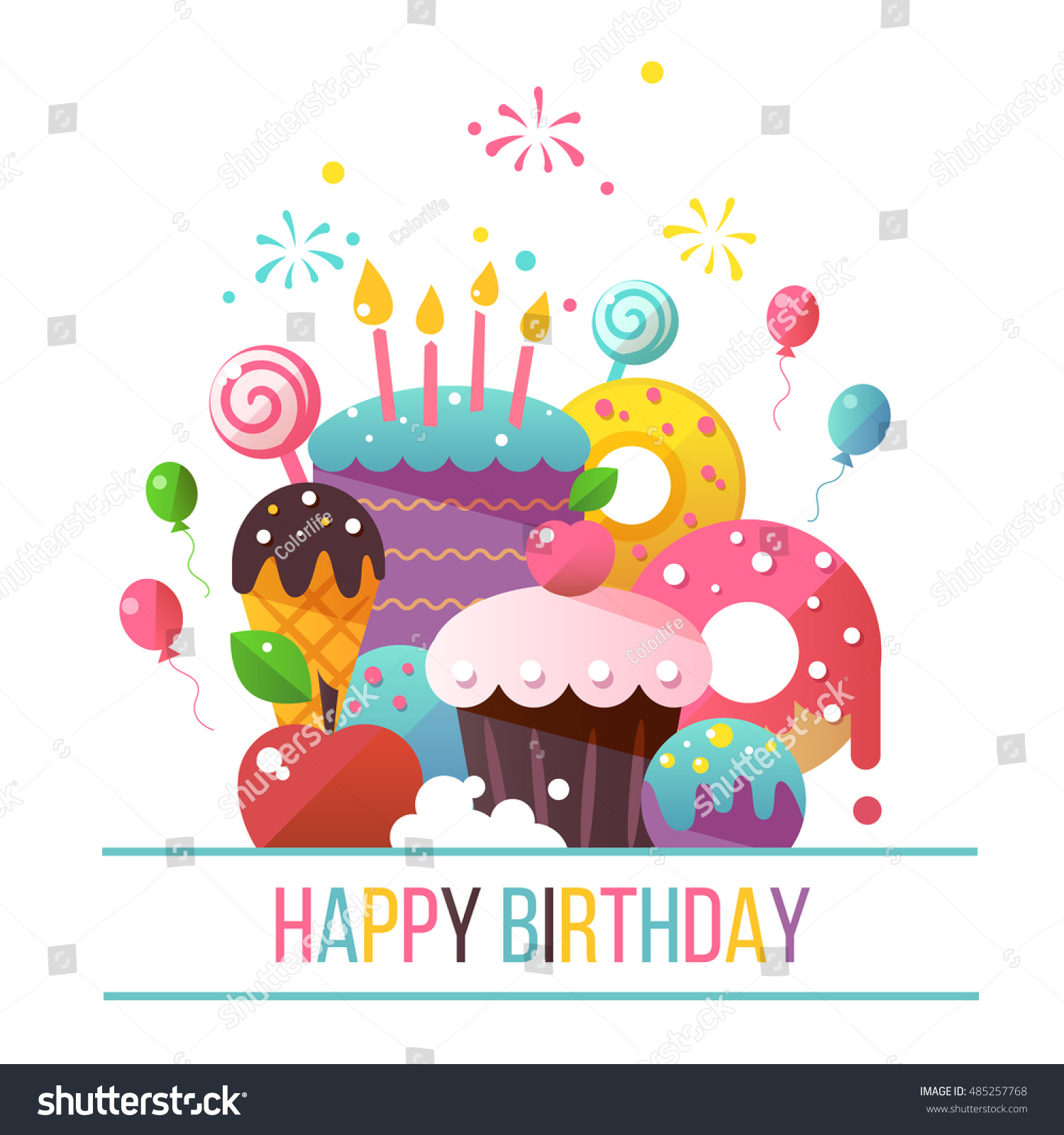 Happy Birthday Card Flat Design Vector Stock Vector