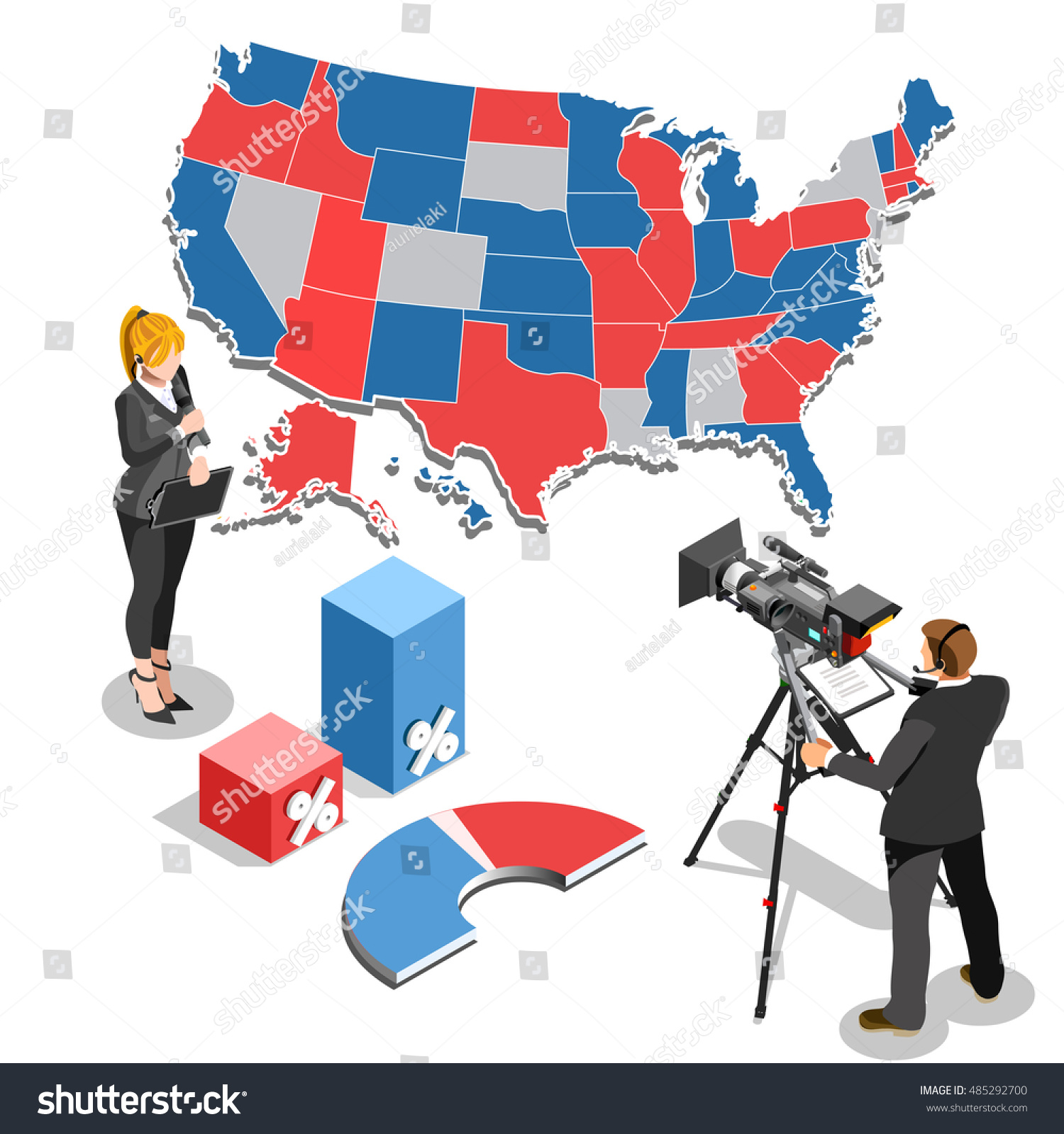 Us Usa Map Election News Infographic Democrat Republican Convention Hall Party Presidential Debate Endort