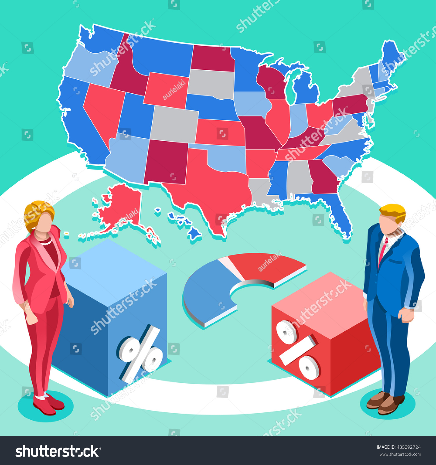 Us Map Election Infographic Democrat Republican Stock Vector