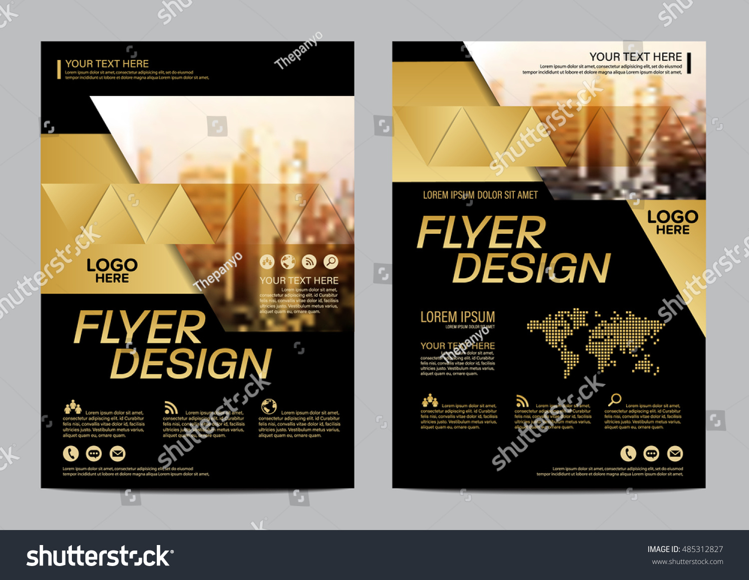 gold brochure layout design template annual stock vector 485312827, Presentation templates