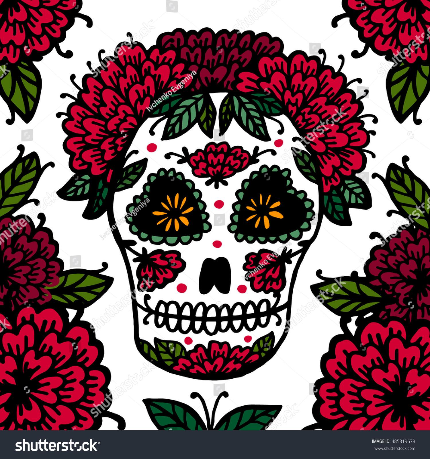 day dead sugar skull seamless vector stock vector royalty free